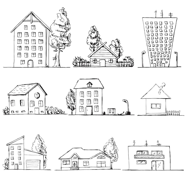 Hand gezeichneter satz von verschiedenen häusern. illustration in einem skizzenstil. Premium Vektoren