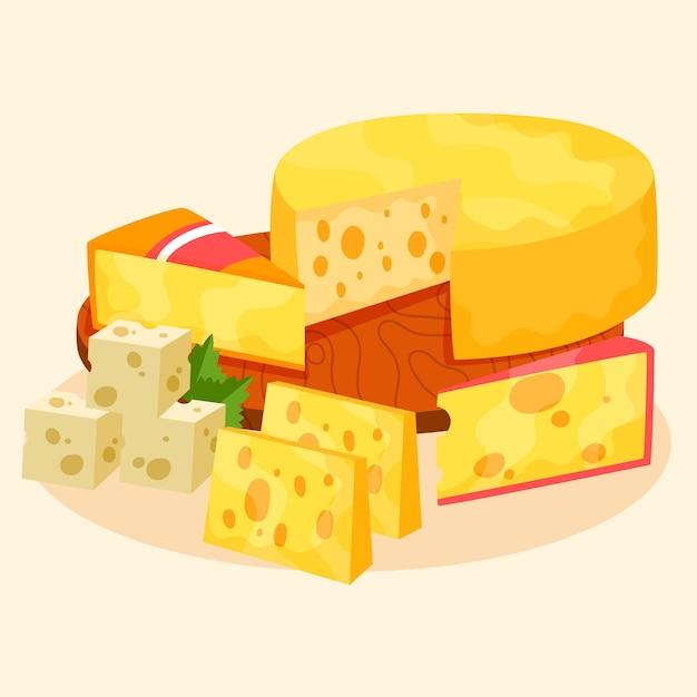 Hand gezeichneter satz von verschiedenen käsesorten Kostenlosen Vektoren