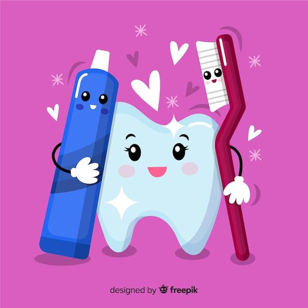 Hand gezeichneter sauberer zahn mit zahnbürste und zahnpasta Kostenlosen Vektoren