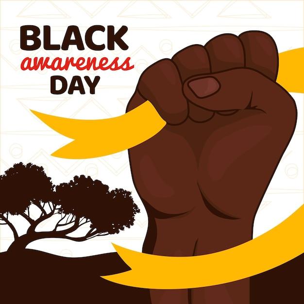 Hand gezeichneter schwarzer bewusstseins-tag Kostenlosen Vektoren