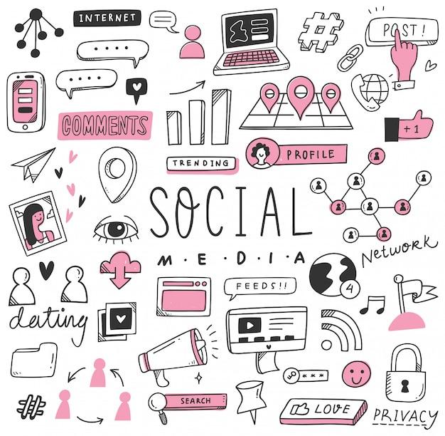 Hand gezeichneter social media-gekritzelsatz Premium Vektoren