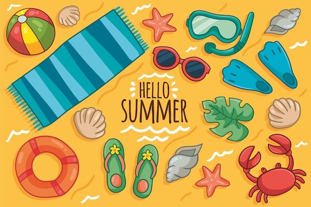 Hand gezeichneter sommerhintergrund Kostenlosen Vektoren