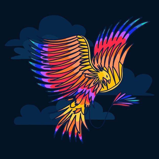 Hand gezeichneter stil phoenix vogel Kostenlosen Vektoren