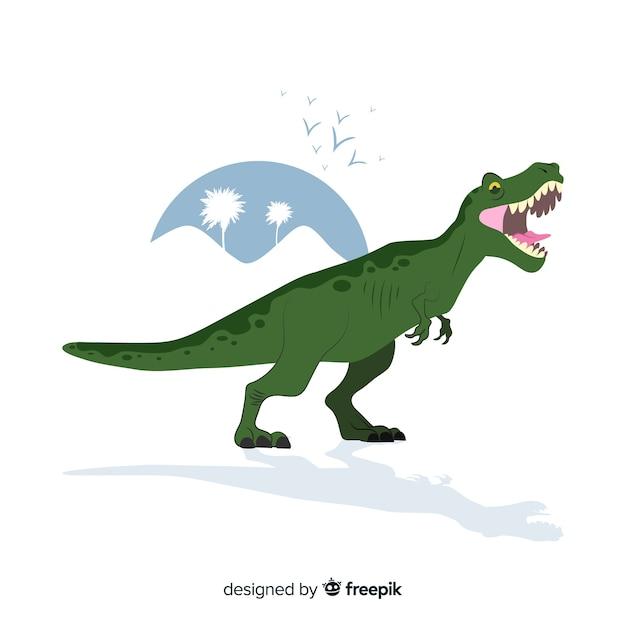 Hand gezeichneter t-rex hintergrund Kostenlosen Vektoren