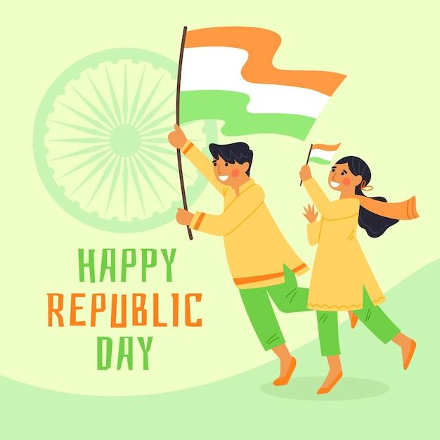 Hand gezeichneter tag der indischen republik mit flaggen Kostenlosen Vektoren