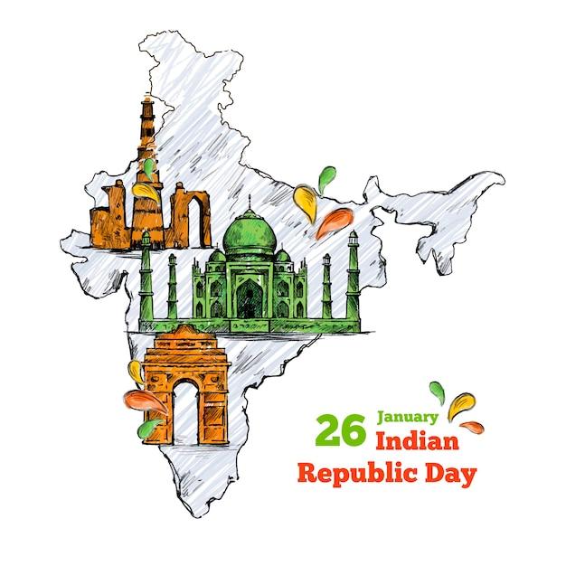 Hand gezeichneter tag der indischen republik Kostenlosen Vektoren
