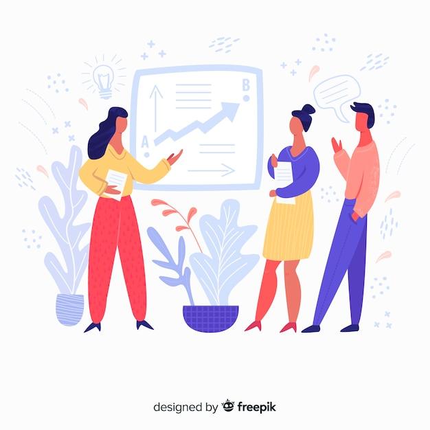 Hand gezeichneter teamarbeitssitzungshintergrund Kostenlosen Vektoren