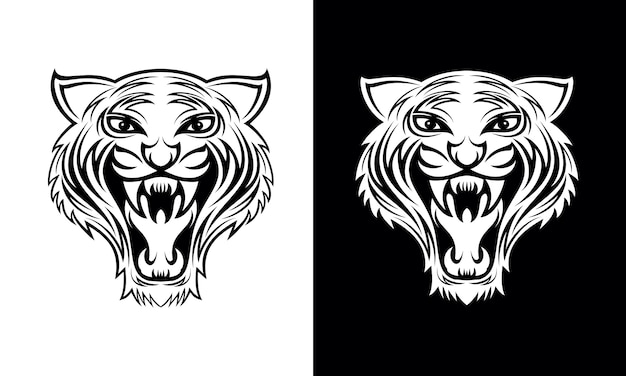 Hand gezeichneter tiger face tattoo design vector Premium Vektoren
