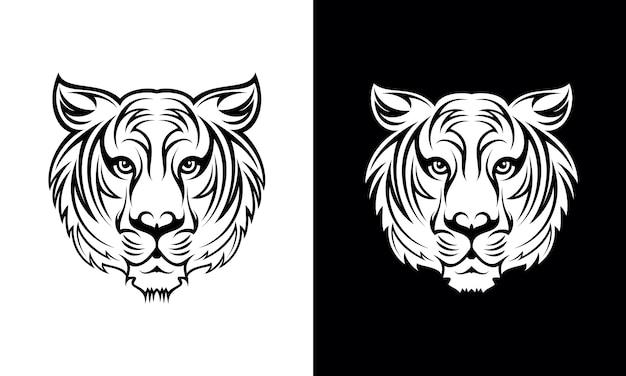 Hand gezeichneter tiger tattoo design Premium Vektoren