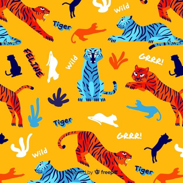 Hand gezeichneter tigermusterhintergrund Kostenlosen Vektoren
