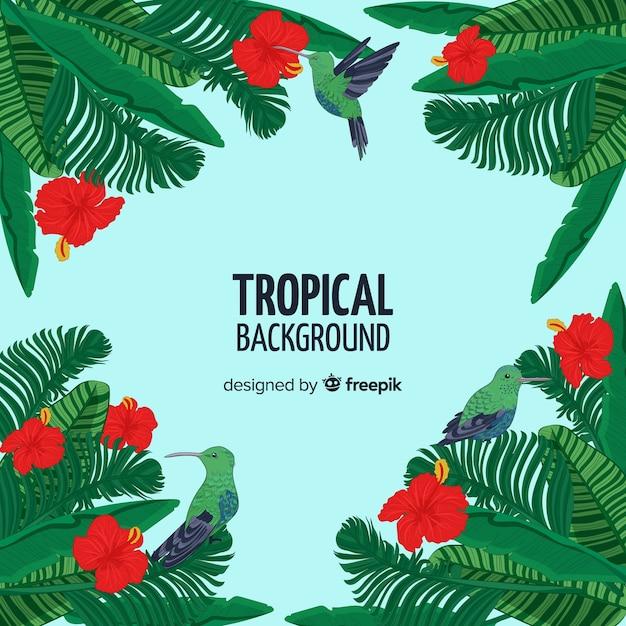 Hand gezeichneter tropischer baumhintergrund Kostenlosen Vektoren