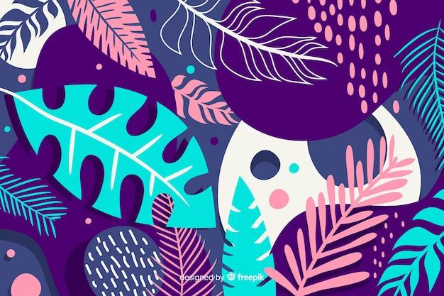 Hand gezeichneter tropischer blumenhintergrund Kostenlosen Vektoren