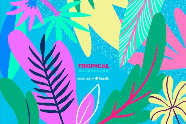Hand gezeichneter tropischer bunter blatthintergrund Kostenlosen Vektoren