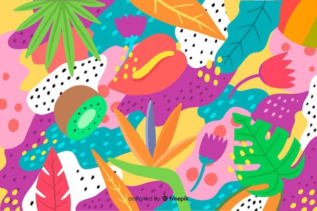 Hand gezeichneter tropischer hintergrund Kostenlosen Vektoren