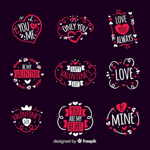 Hand gezeichneter valentinsgrußausweissatz Kostenlosen Vektoren
