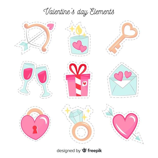 Hand gezeichneter valentinsgrußelementsatz Kostenlosen Vektoren