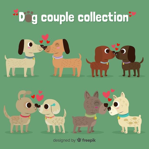 Hand gezeichneter valentinsgrußhundepaarsatz Kostenlosen Vektoren