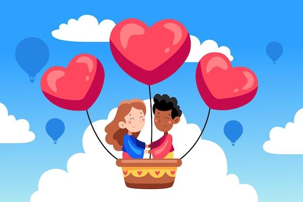 Hand gezeichneter valentinstaghintergrund mit paar im heißluftballon Premium Vektoren