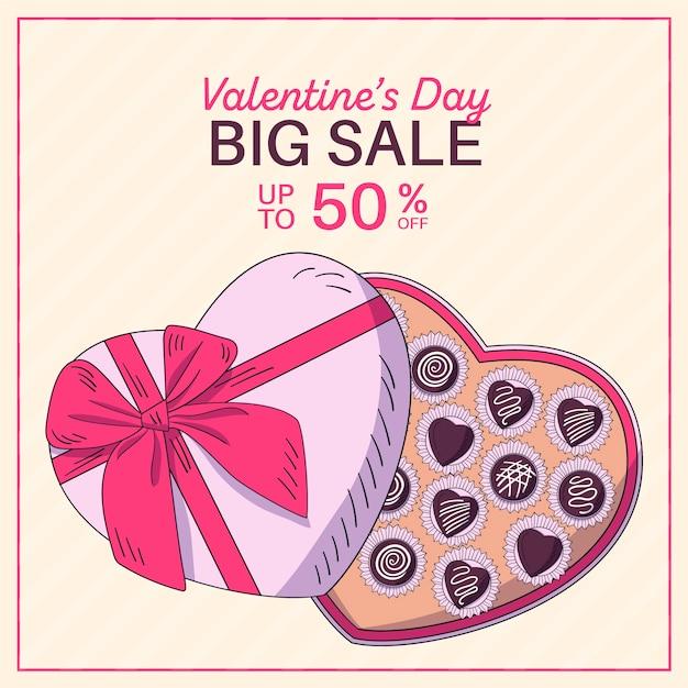 Hand gezeichneter valentinstagverkauf mit großem schokoladenkasten Kostenlosen Vektoren