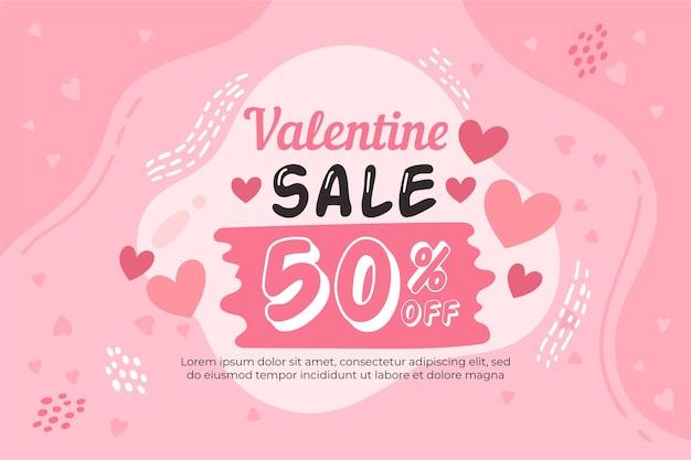 Hand gezeichneter valentinstagverkauf mit rabatt Kostenlosen Vektoren