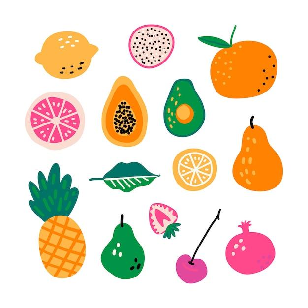 Hand gezeichneter vektorsatz der fruchtkarikatur. Premium Vektoren