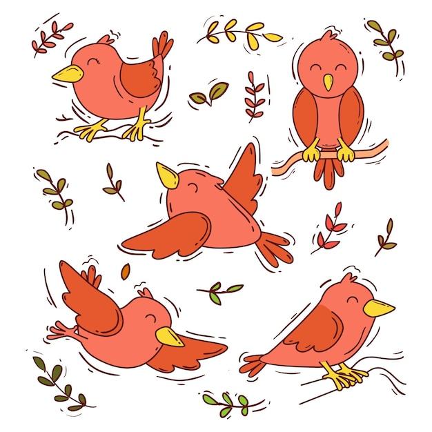 Hand gezeichneter vogelsatz Kostenlosen Vektoren
