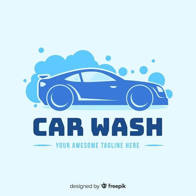 Hand gezeichneter waschanlage-logohintergrund Kostenlosen Vektoren
