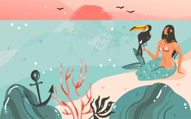 Hand gezeichneter waschbär-sommerzeitillustrationsschablonenhintergrund mit ozeanstrandlandschaft, sonnenuntergang und schönheitsmädchen-meerjungfrau, tukanvogel mit kopienraumplatz für ihren text Premium Vektoren