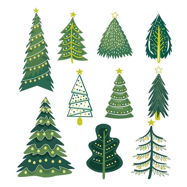 Hand gezeichneter weihnachtsbaumsatz Kostenlosen Vektoren