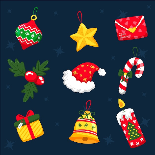 Hand gezeichneter weihnachtsdekorationssatz Kostenlosen Vektoren