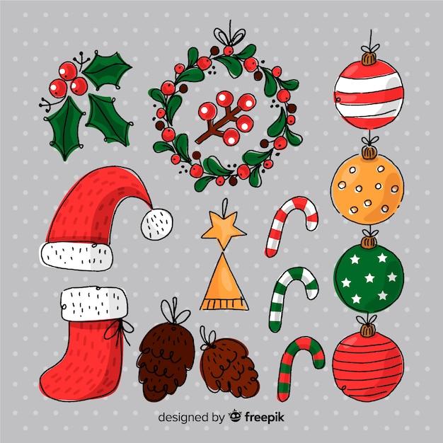 Hand gezeichneter weihnachtselementsatz Kostenlosen Vektoren