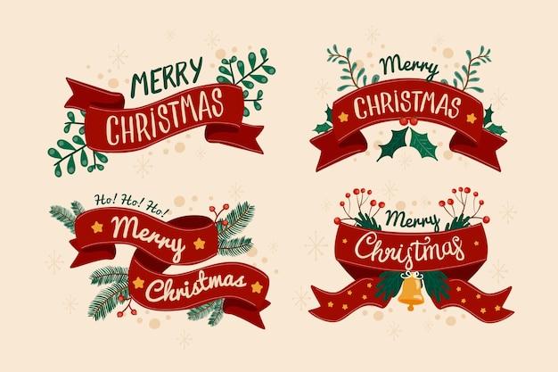 Hand gezeichneter weihnachtsfarbbandsatz Kostenlosen Vektoren