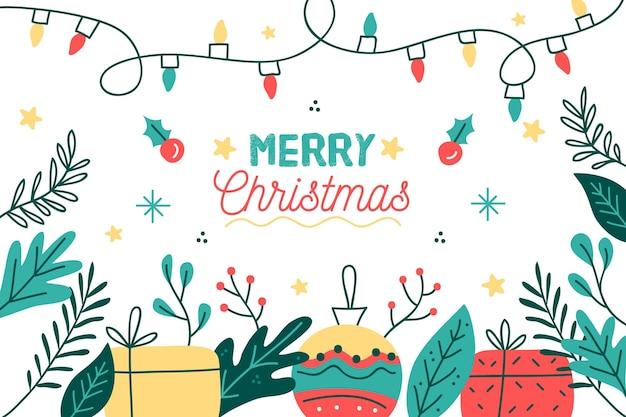 Hand gezeichneter weihnachtshintergrund mit geschenken und globus Kostenlosen Vektoren