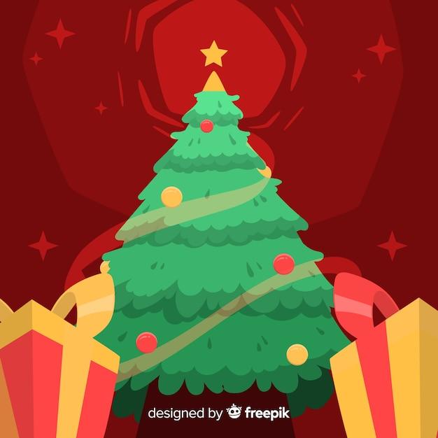Hand gezeichneter weihnachtshintergrund mit weihnachtsbaum Kostenlosen Vektoren