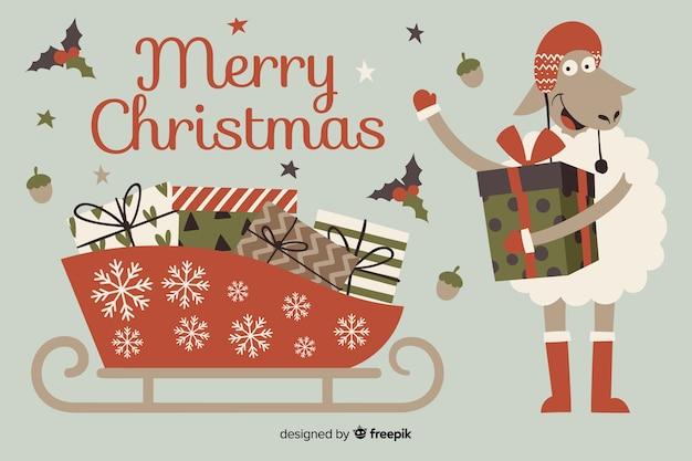 Hand gezeichneter weihnachtshintergrund mit weihnachtsschlitten Kostenlosen Vektoren