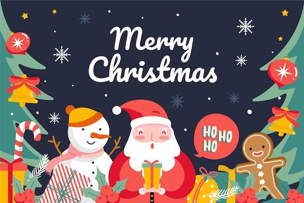 Hand gezeichneter weihnachtshintergrund Kostenlosen Vektoren
