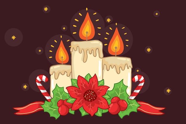 Hand gezeichneter weihnachtskerzenhintergrund Kostenlosen Vektoren