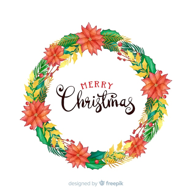 Hand gezeichneter weihnachtskranz mit schönen blumen Kostenlosen Vektoren