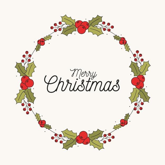 Hand gezeichneter weihnachtskranz Kostenlosen Vektoren