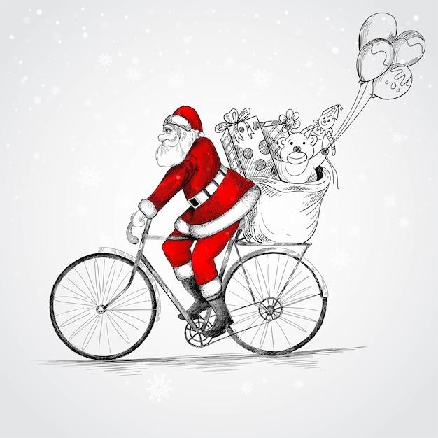 Hand gezeichneter weihnachtsmann auf einem fahrrad, das weihnachtsgeschenkskizze liefert Kostenlosen Vektoren