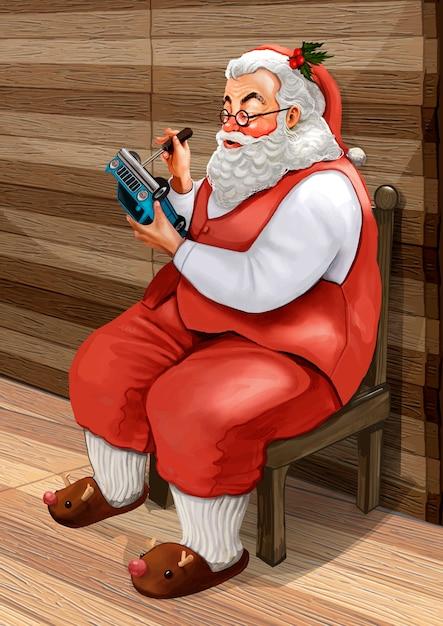 Hand gezeichneter weihnachtsmann, der weihnachtsgeschenke macht Kostenlosen Vektoren