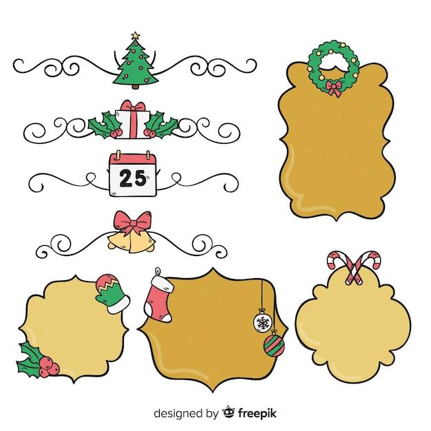 Hand gezeichneter weihnachtsrahmensatz Kostenlosen Vektoren