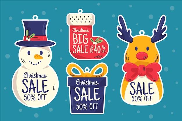 Hand gezeichneter weihnachtsverkaufs-markensatz Kostenlosen Vektoren