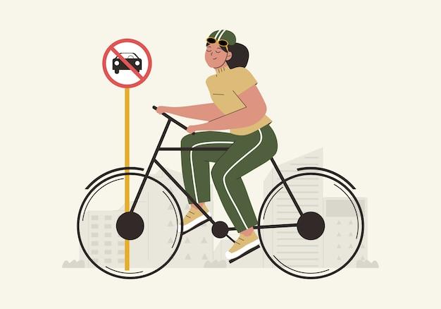 Hand gezeichneter weltautofreiheitstaghintergrund mit frauen, die fahrrad und keine autozeichenflachillustration verwenden. weltumwelttag konzept. umweltfreundlicher transport Premium Vektoren