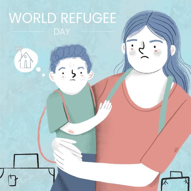 Hand gezeichneter weltflüchtlingstag Kostenlosen Vektoren