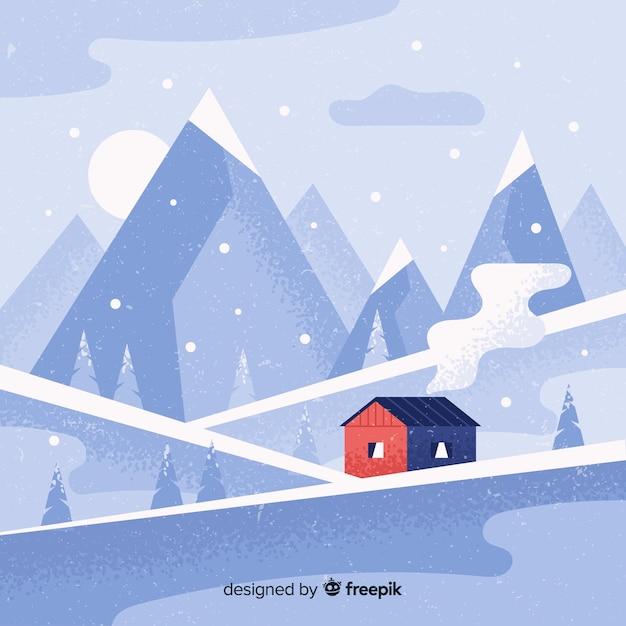 Hand gezeichneter winterlandschaftshintergrund Kostenlosen Vektoren