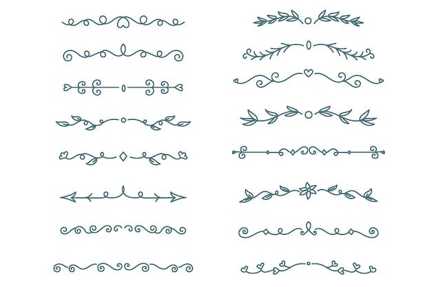 Hand gezeichneter zierteiler auf weißem hintergrundpaket Kostenlosen Vektoren