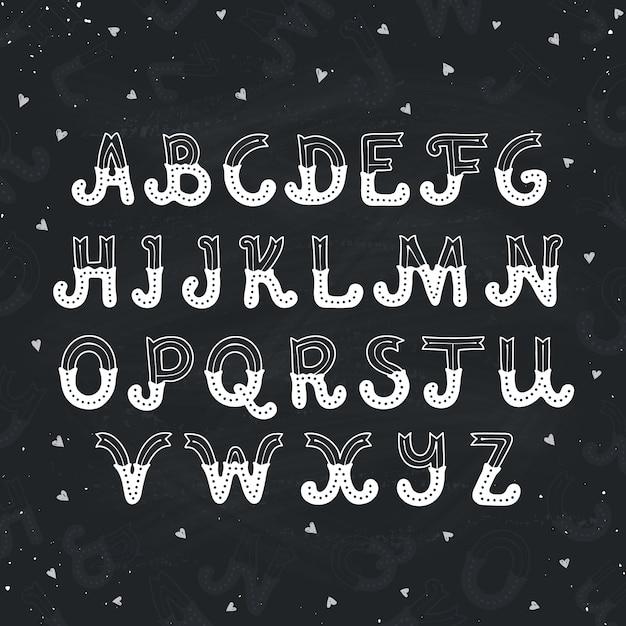 Hand gezeichnetes alphabet Premium Vektoren