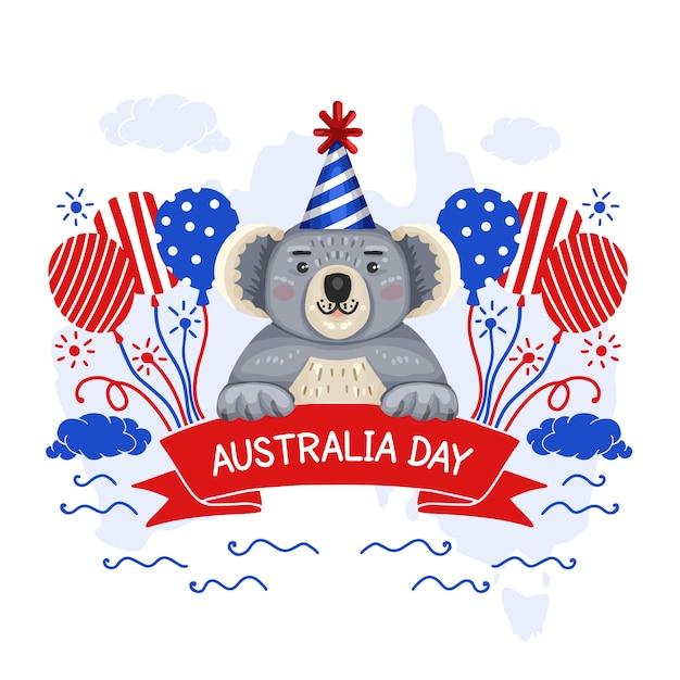 Hand gezeichnetes artaustralien-tagesereignis mit koalabären Kostenlosen Vektoren