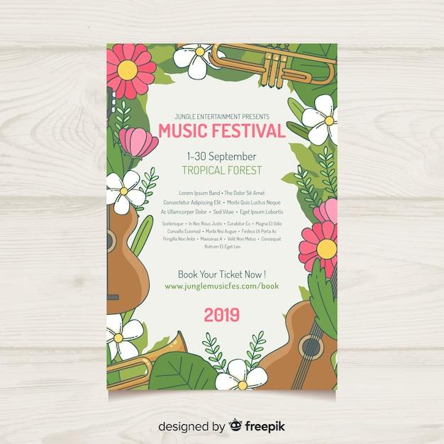 Hand gezeichnetes blumenrahmenmusik-festivalplakat Kostenlosen Vektoren